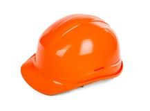Красный трудный шлем на белизне Стоковые Изображения