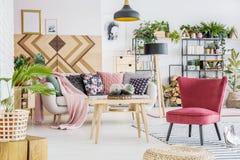 Красный уютный интерьер живущей комнаты Стоковое Изображение