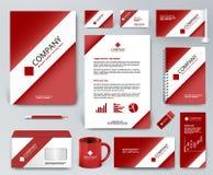 Красный фирменный стиль установил с белой лентой на красном фоне Стоковые Фотографии RF