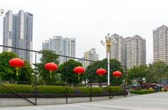 Красный фонарик на квадрате клана родового Hall Chen Стоковая Фотография