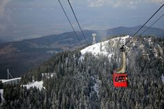 Красный фуникулер над лесом покрытым с снегом Стоковое Изображение RF