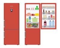 Красный холодильник с открыть дверями, полное еды Стоковая Фотография RF