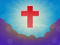 Красный христианский крест летает над облаками шторма Стоковое Изображение