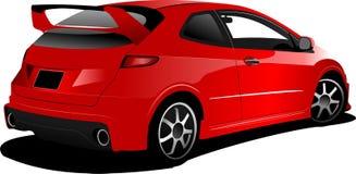 Красный хэтчбек автомобиля на дороге иллюстрация вектора
