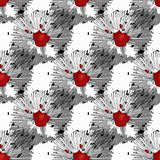 Красный цветок безшовный красивейшие цветки букета Нарисовано вручную иллюстрация штока