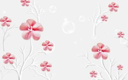 Красный цветок на серой предпосылке Стоковое Изображение RF