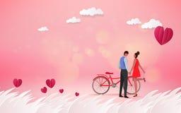 Красный цветок сердца на розовой предпосылке с сладостными парами на honeym Стоковое Изображение