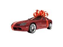 красный цвет автомобиля изолированный подарком Стоковые Фото