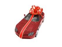 красный цвет автомобиля изолированный подарком Стоковое Фото