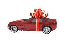 красный цвет автомобиля изолированный подарком Стоковые Изображения RF