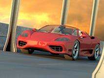 красный цвет автомобиля резвится заход солнца иллюстрация вектора