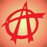 Красный цвет анархии знака с предпосылкой Стоковые Изображения