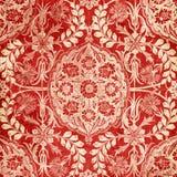 красный цвет античного штофа предпосылки флористический Стоковые Изображения RF
