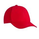 Красный цвет бейсбольной кепки, на изолированной белой предпосылке Стоковые Фото