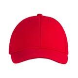 Красный цвет бейсбольной кепки, на изолированной белой предпосылке Стоковые Изображения