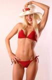 красный цвет бикини glamourous Стоковое Фото