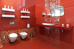 Красный цвет ванной комнаты Стоковое фото RF
