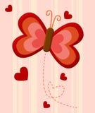 красный цвет влюбленности бабочки иллюстрация штока