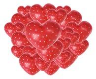 красный цвет влюбленности сердец Стоковые Фотографии RF