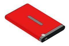Красный цвет внешнее HDD с кабелем Стоковое Изображение
