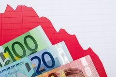 Красный цвет вниз отклоняет диаграмма и банкноты на рабочем месте Стоковые Фото