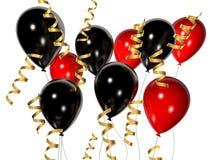 красный цвет воздушных шаров черный иллюстрация вектора