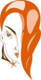 красный цвет волос девушки Иллюстрация штока
