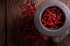 красный цвет высушенный chili Стоковое Изображение