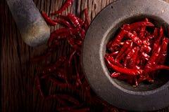 красный цвет высушенный chili Стоковые Фото