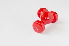 красный цвет гантели Стоковые Фотографии RF