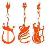 красный цвет гитары иллюстрация вектора
