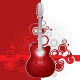 красный цвет гитары Стоковая Фотография