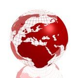 красный цвет глобуса 3d Африки европы Стоковое Изображение RF