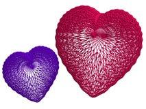красный цвет голубых сердец кружевной Стоковая Фотография