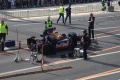 красный цвет гонки автомобиля быка участвуя в гонке стоковая фотография rf