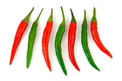 красный цвет горячего перца chili зеленый Стоковая Фотография
