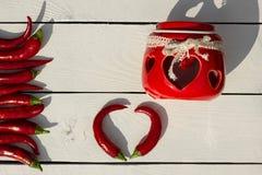 красный цвет горячего перца chili Стиль страны Стоковая Фотография RF