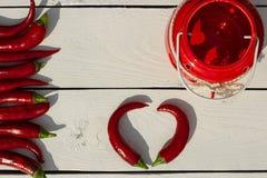 красный цвет горячего перца chili Стиль страны Стоковые Изображения RF