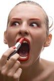 красный цвет губной помады девушки Стоковое Фото