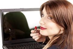 красный цвет губной помады коммерсантки Стоковое фото RF