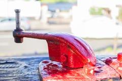 красный цвет двигателя старый стоковое изображение