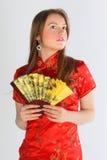 красный цвет девушки платья китайца Стоковое Изображение