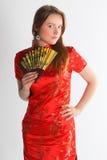 красный цвет девушки платья китайца Стоковое Изображение RF