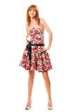 красный цвет девушки платья с волосами счастливый Стоковая Фотография RF