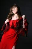 красный цвет девушки платья Стоковое фото RF