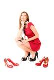 красный цвет девушки платья Стоковые Изображения RF