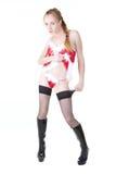 красный цвет девушки платья Стоковые Фотографии RF