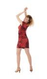 красный цвет девушки платья Стоковые Фото