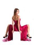 красный цвет девушки платья стоковая фотография rf
