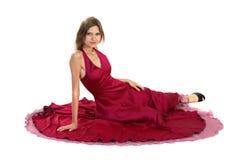 красный цвет девушки платья Стоковое Изображение